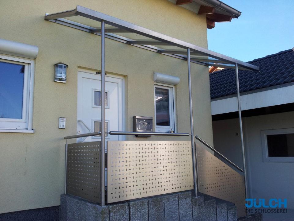 Hauseingang Vordach Edelstahl Wetterschutz