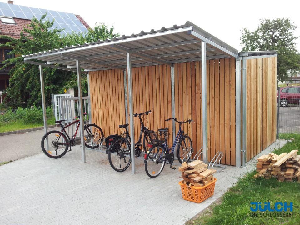 Fahrradstellplatz, Unterstand, Trapezblech, Schutz vor Wind und Wetter
